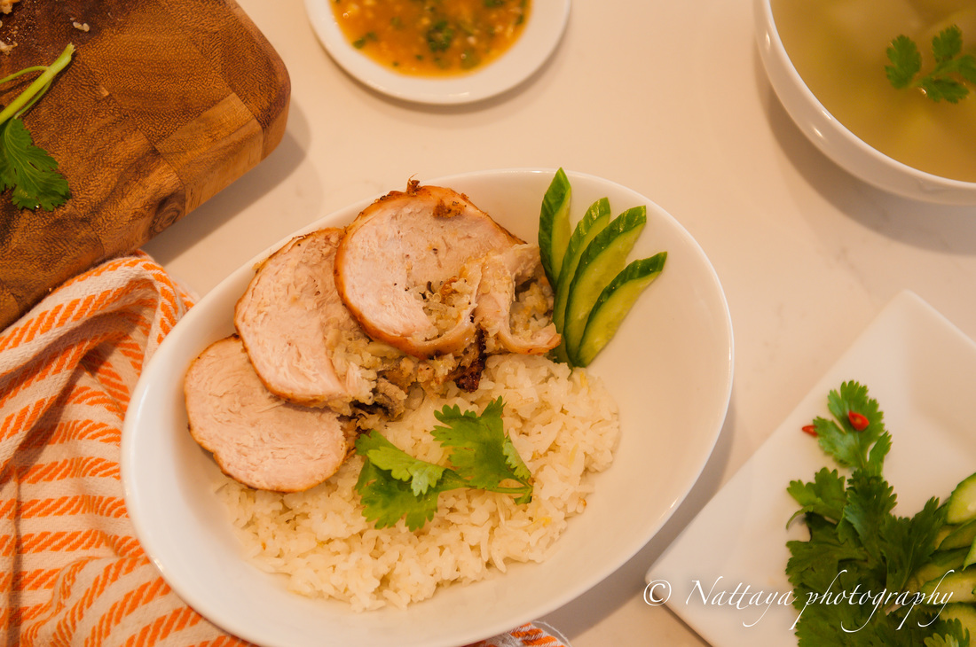 Natty Style Khoa Mun Gai ( Rice infused chicken, garlic and ginger flavors ) Recipe