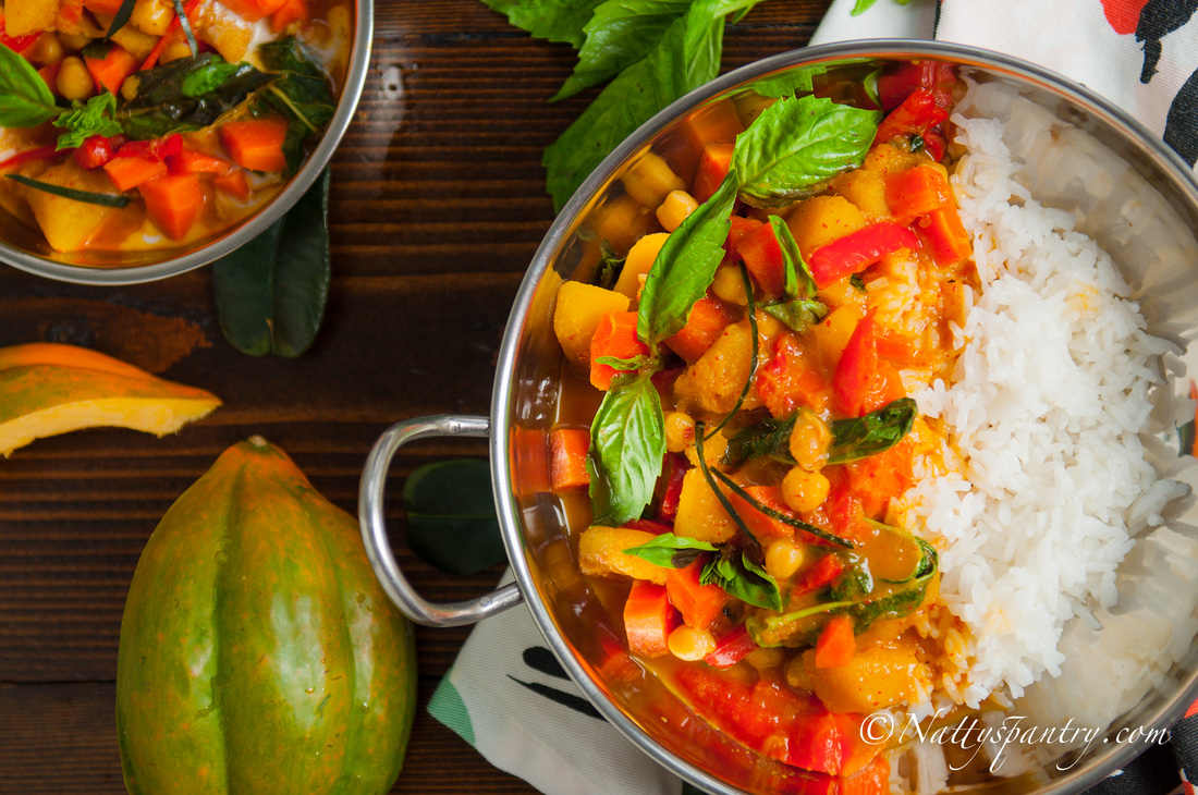 Thai Vegan Fiery Red Curry With Acorn and Chickpeas Recipe