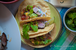 Seared Pork tenderloin with coc_oa-Chili Mexican spice rub taco
