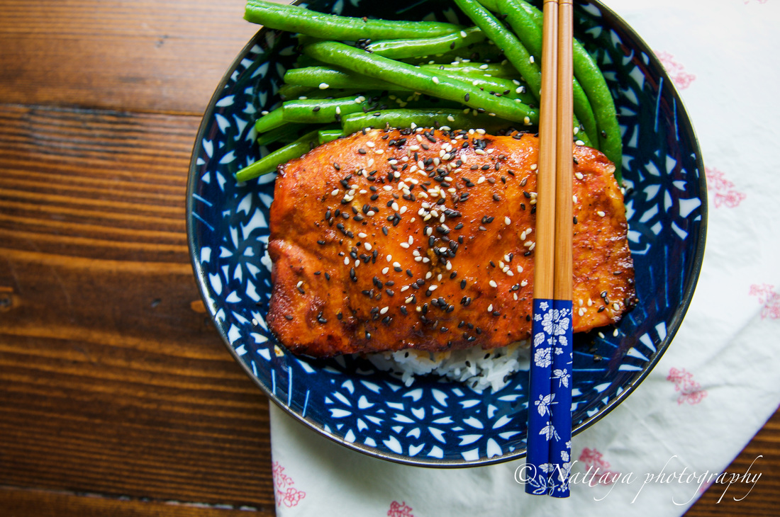 Ginger And Sesame Glazed Salmon With Sauté Green Beans Recipe : A ...