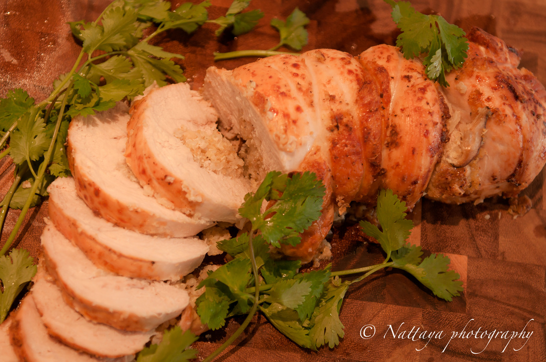 Thai Ginger & Garlic Rice, Shitake Mushroom, Almond And Quinoa Stuffed Turkey Breast Recipe