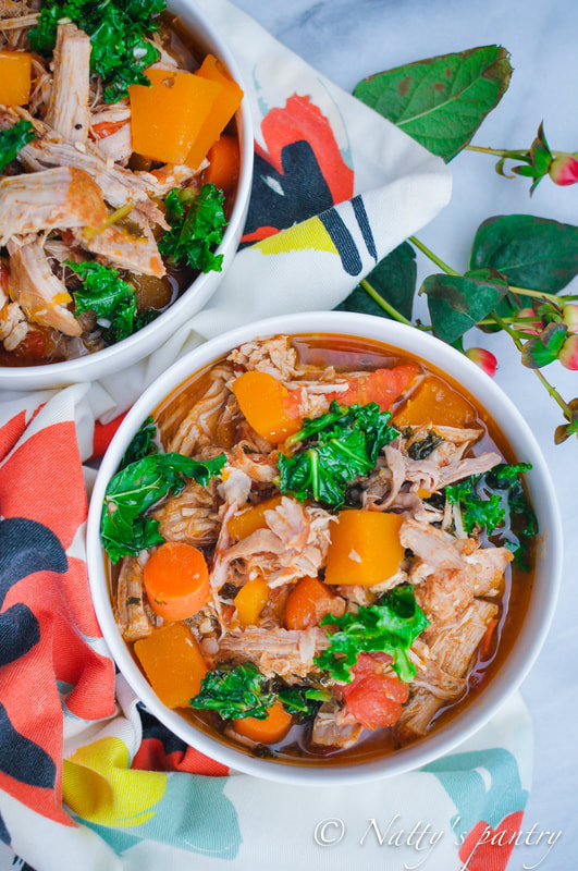 Roasted Pork Shoulder Stew with Butternut Squash, Tomato, and Kale Recipe: Nattyspantry.com