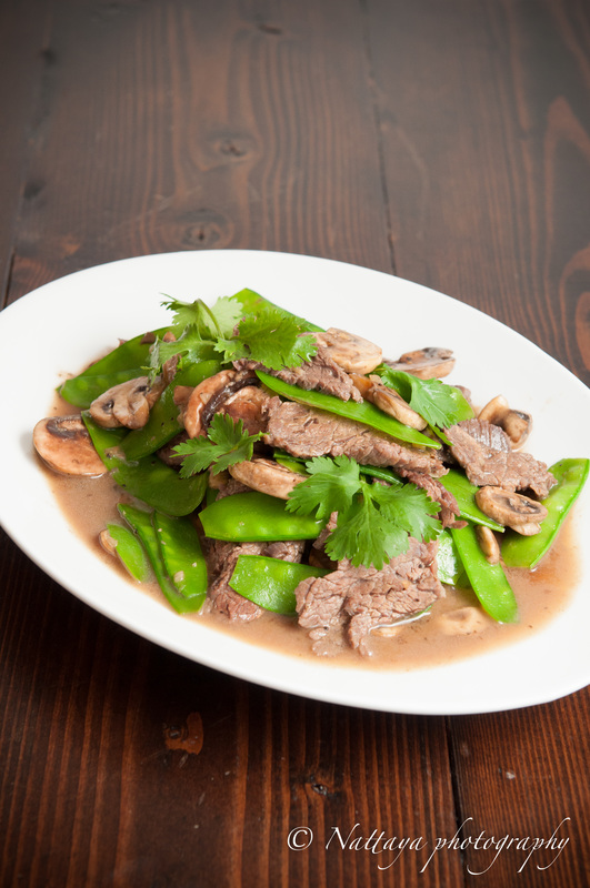 Stir-Fried Snow Peas And Mushrooms With Asian Marinated Flank Steak Recipe