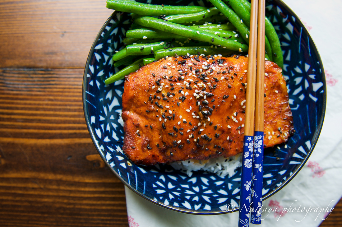 Ginger And Sesame Glazed Salmon With Sauté Green B