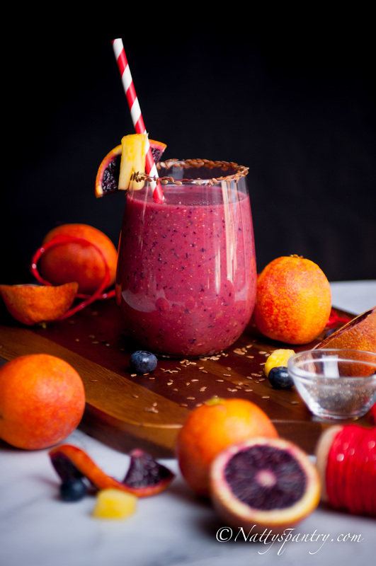 Blood Orange, Blueberry And Pineapple Smoothie Recipe
