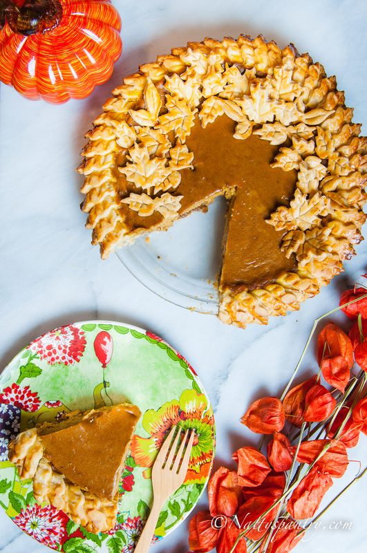 Pumpkin Pie With Pecans and Salted Apple Cider Caramel Recipe:Nattyspantry.com