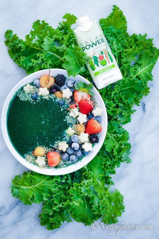 Kale, Pineapple, Spirulina Salad Power Smoothie Bowl Recipe: nattyspantry.com