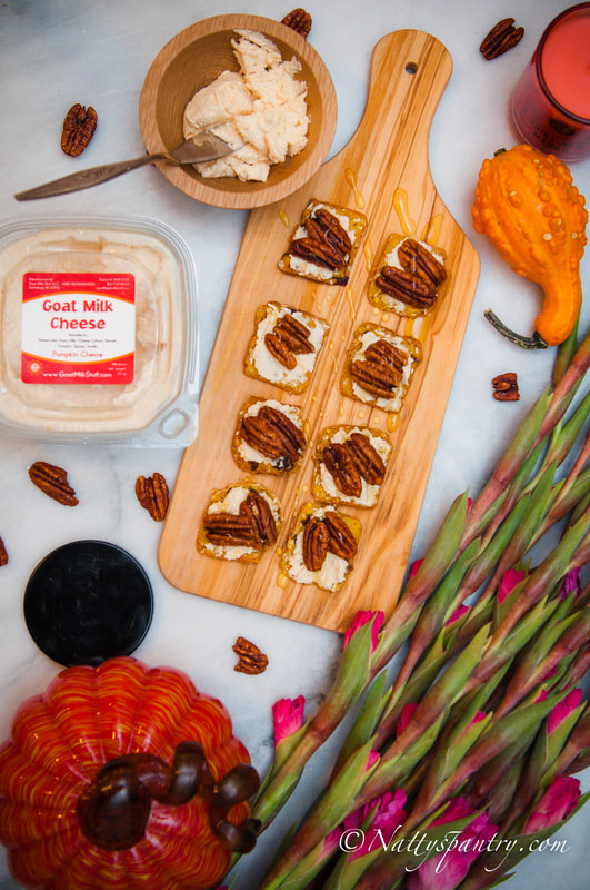 Nattyspantry With Goat Milk Stuff :  Fall Pumpkin Goat Cheese, Pecan & Honey Appetizer Recipe