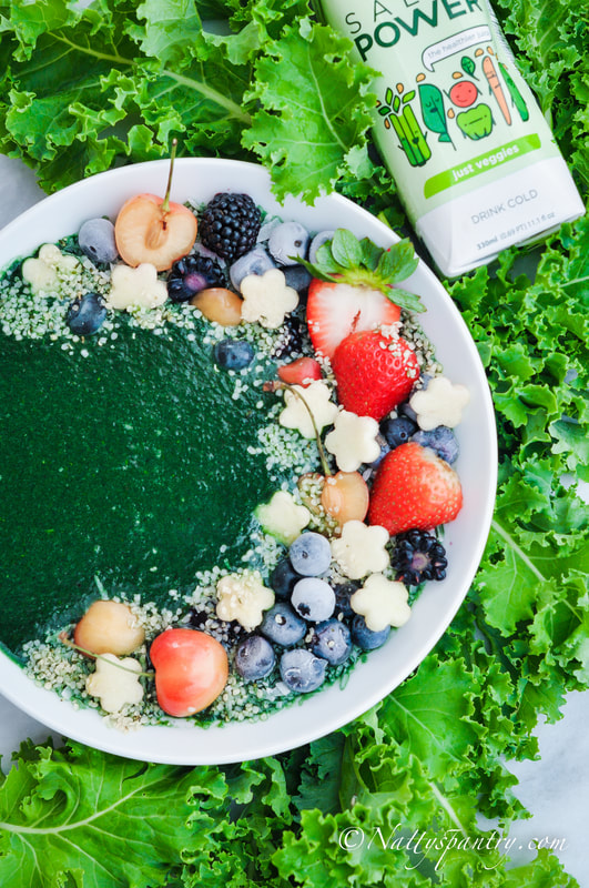 Kale, Pineapple, Spirulina Salad Power Smoothie Bowl Recipe