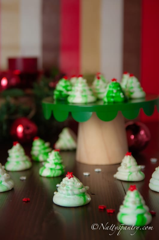 Holiday Peppermint Christmas Tree Meringue Cookies Recipe: nattyspantry.com