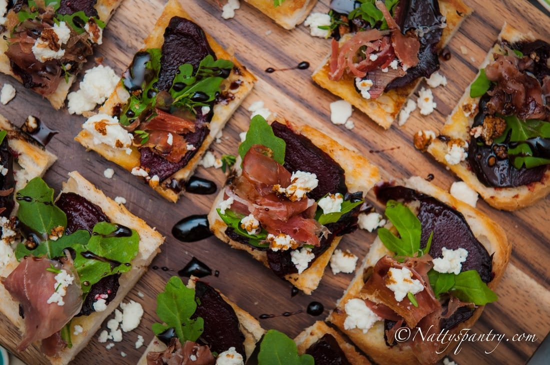 Prosciutto, Arugula; Balsamic-Glazed Roasted Beet and Goat Cheese Crostini Recipe