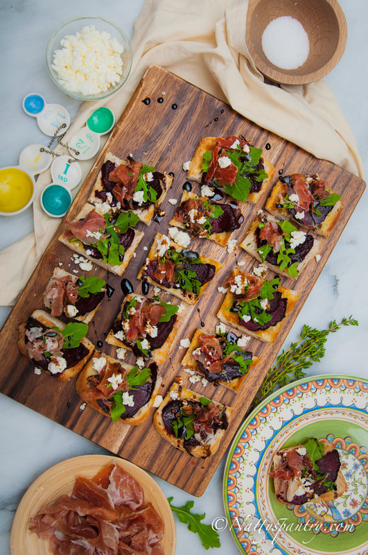 Nattyspantry with Turano :    Prosciutto, Arugula; Balsamic-glazed roasted beet and goat cheese crostini Recipe